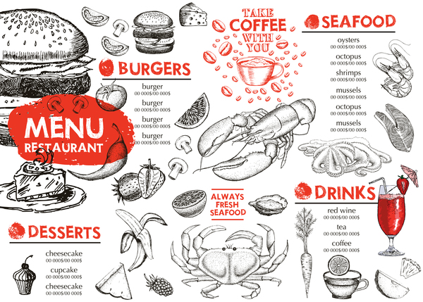 Hand drawn seafood menu template vector 05