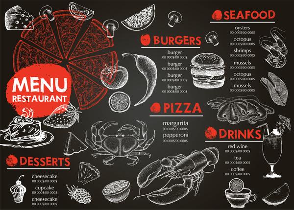 Hand drawn seafood menu template vector 07