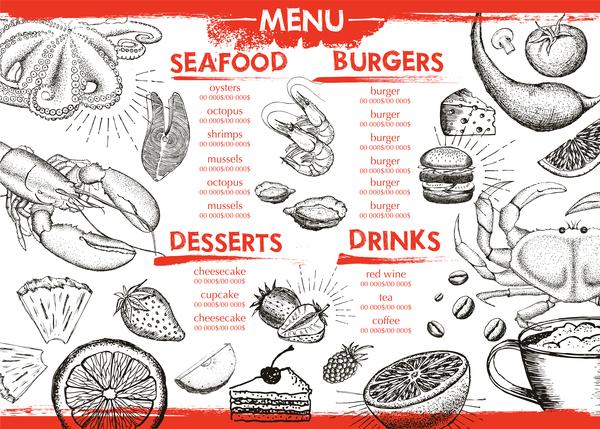 Hand drawn seafood menu template vector 08