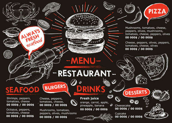 Hand drawn seafood menu template vector 09