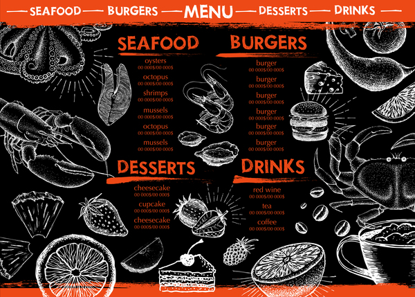 Hand drawn seafood menu template vector 11