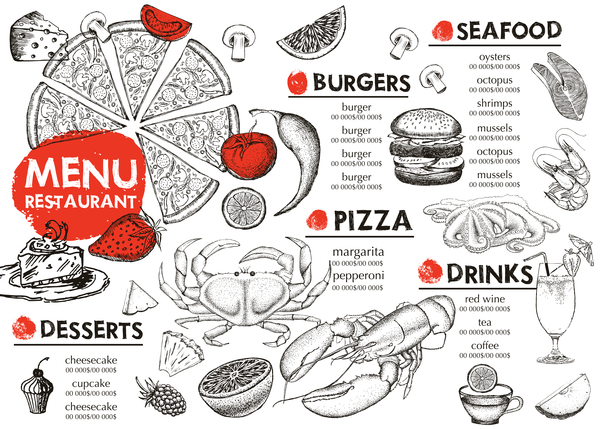Hand drawn seafood menu template vector 12