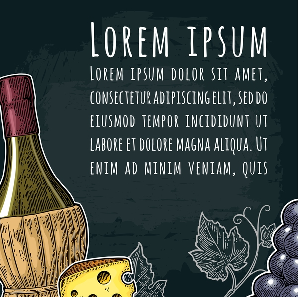 Hand drawn wine poster template with blackboard background vector 01