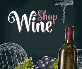 Hand drawn wine poster template with blackboard background vector 02