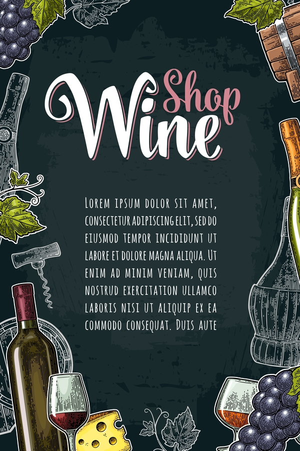 Hand drawn wine poster template with blackboard background vector 03
