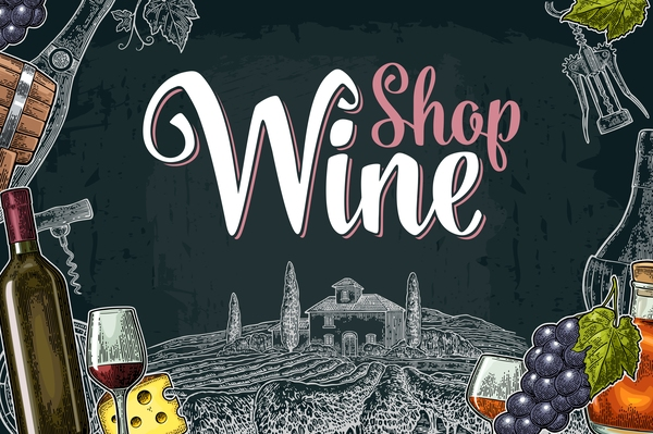 Hand drawn wine poster template with blackboard background vector 04