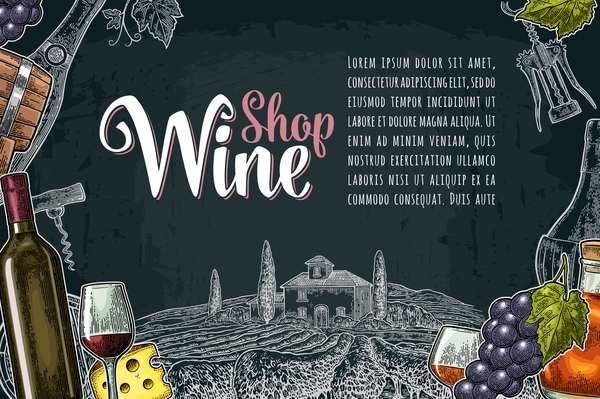 Hand drawn wine poster template with blackboard background vector 05