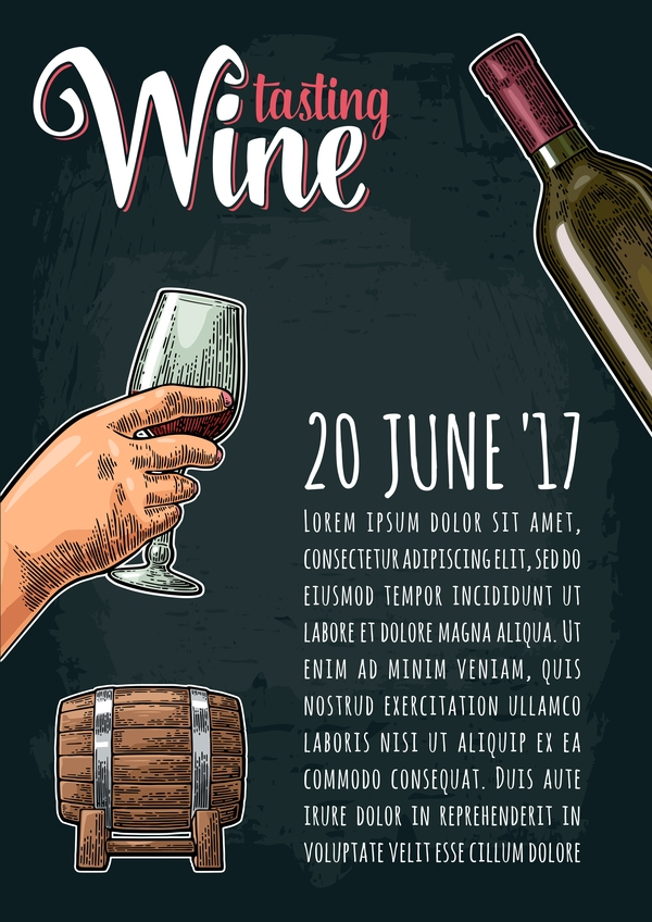 Hand with bottle wine poster vector