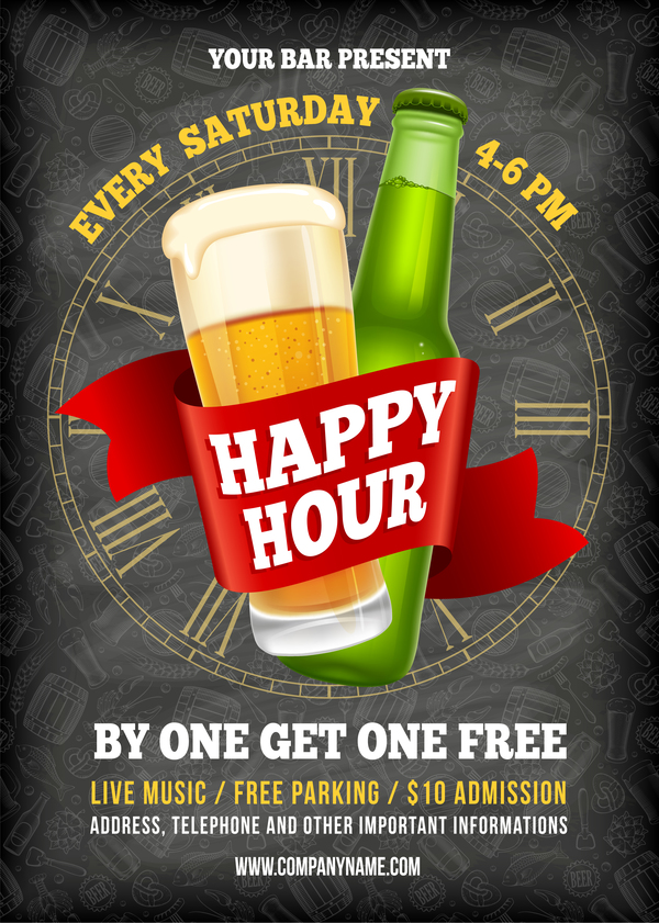 Happy Hour beer poster template vector 01