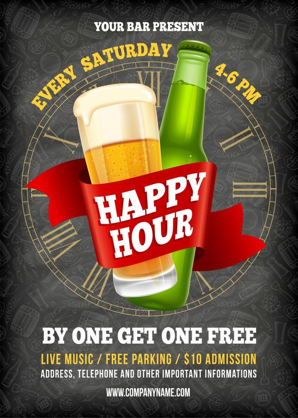 Happy Hour Beer Poster Template Vector 01