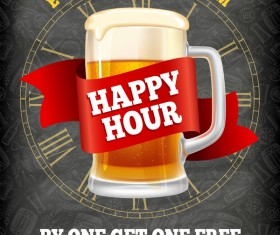 Happy Hour beer poster template vector 02