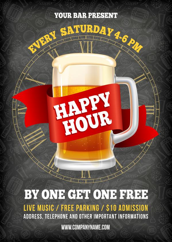 Happy Hour beer poster template vector 02