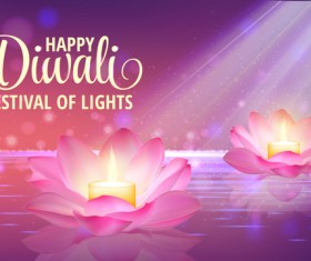 Happy diwali with festival of light background vector 01