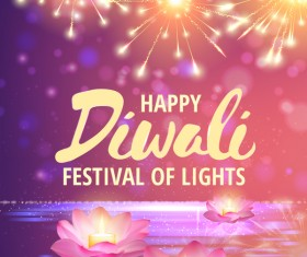 Happy diwali with festival of light background vector 02