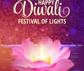 Happy diwali with festival of light background vector 03