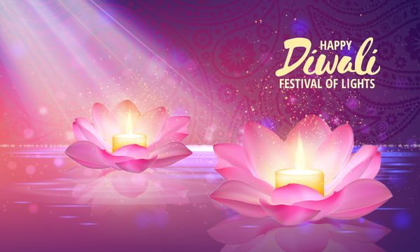 Happy Diwali With Festival Of Light Background Vector 04