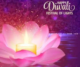 Happy diwali with festival of light background vector 05