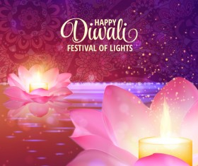 Happy diwali with festival of light background vector 06
