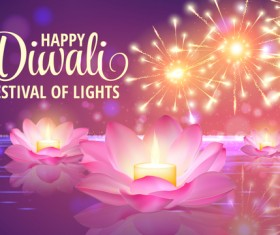 Happy diwali with festival of light background vector 07