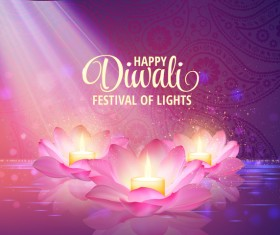 Happy diwali with festival of light background vector 08