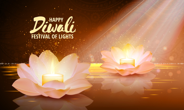 Happy Diwali With Festival Of Light Background Vector 09