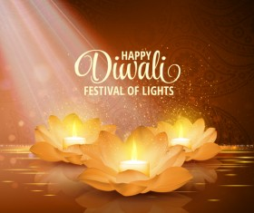 Happy diwali with festival of light background vector 10