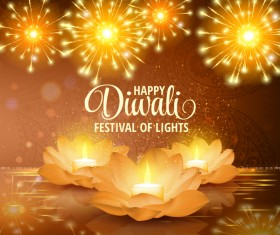 Happy diwali with festival of light background vector 11