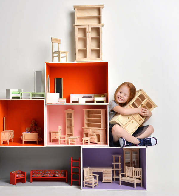 Happy Little Girl Playing Doll House Filled With Mini Furniture Toys Stock  Photo 05