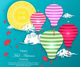 Happy mid autumn festival design vector material 02