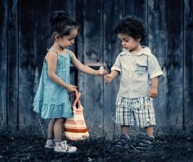 Happy outdoor children Stock Photo