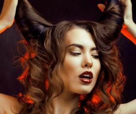 Horns hairstyle wild girl Stock Photo 01