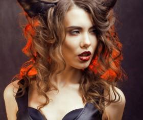 Horns hairstyle wild girl Stock Photo 02
