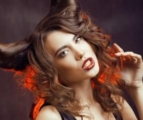 Horns hairstyle wild girl Stock Photo 03