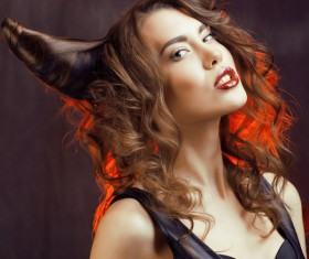 Horns hairstyle wild girl Stock Photo 05