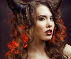 Horns hairstyle wild girl Stock Photo 06