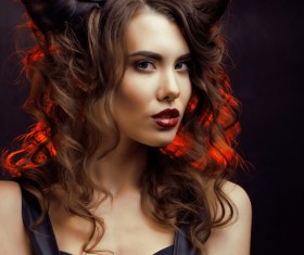 Horns hairstyle wild girl Stock Photo 07
