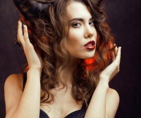Horns hairstyle wild girl Stock Photo 08