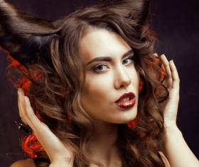 Horns hairstyle wild girl Stock Photo 09