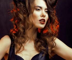Horns hairstyle wild girl Stock Photo 10