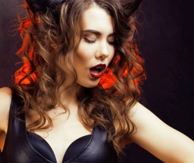 Horns hairstyle wild girl Stock Photo 11