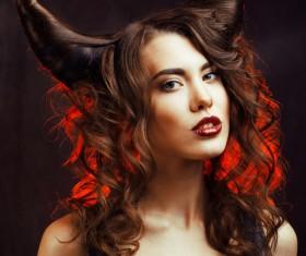 Horns hairstyle wild girl Stock Photo 12