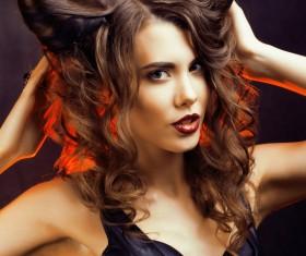 Horns hairstyle wild girl Stock Photo 13