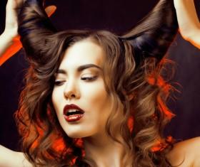 Horns hairstyle wild girl Stock Photo 14