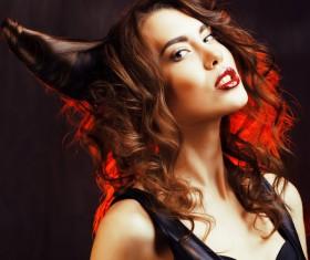 Horns hairstyle wild girl Stock Photo 15