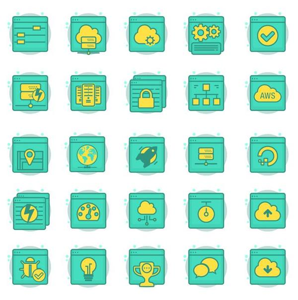 Hosting web icons vector 01