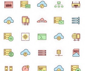 Hosting web icons vector 02