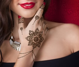 Indian womens hand Mehndi Stock Photo