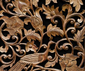 Interior classical wood carvings Stock Photo 01