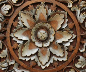 Interior classical wood carvings Stock Photo 03
