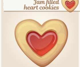 Jam filled heart cookies vector